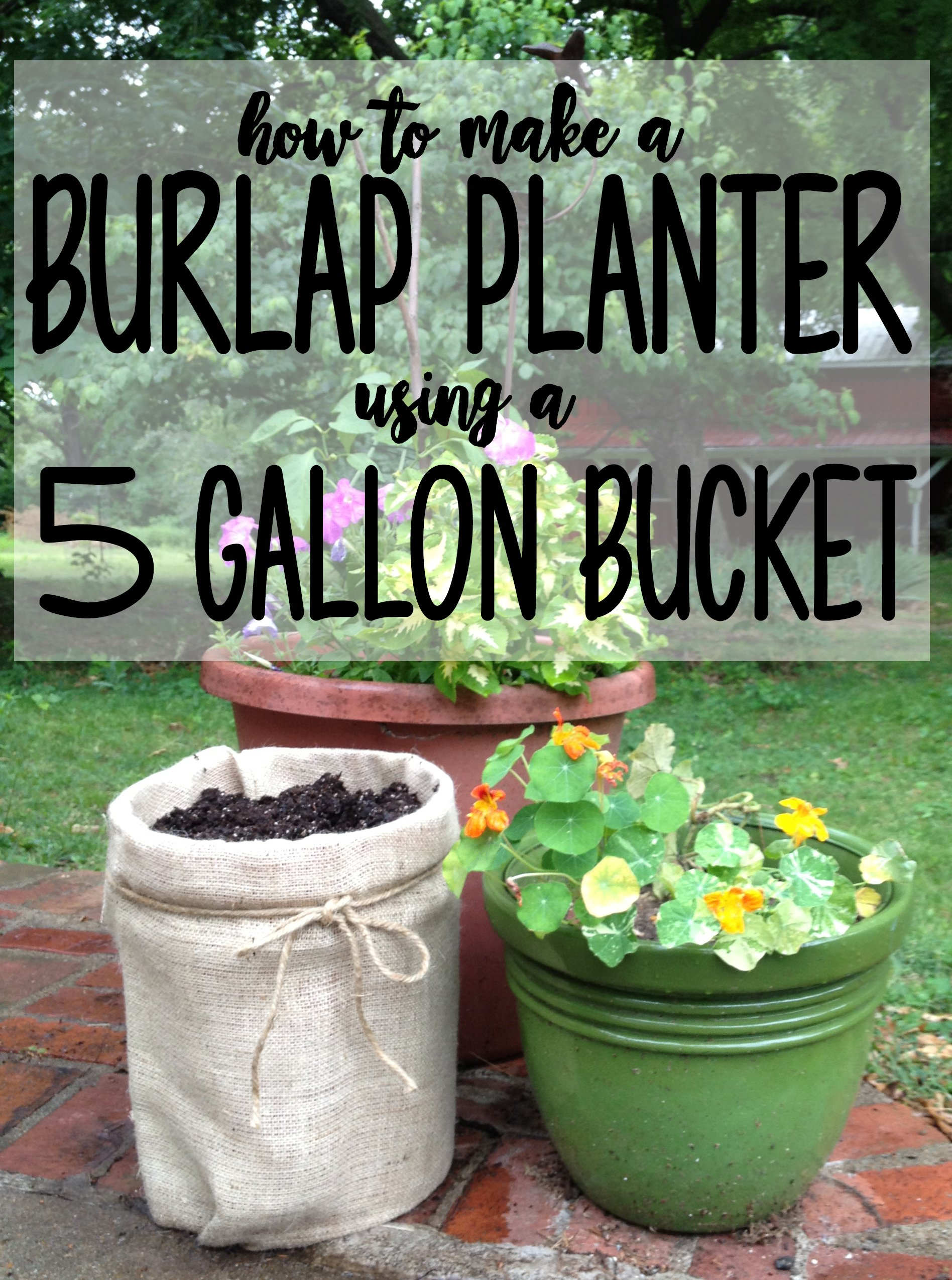 instructions for turning a 5 gallon bucket into a cheap outdoor planter using burlap - 5 Gallon Bucket Garden