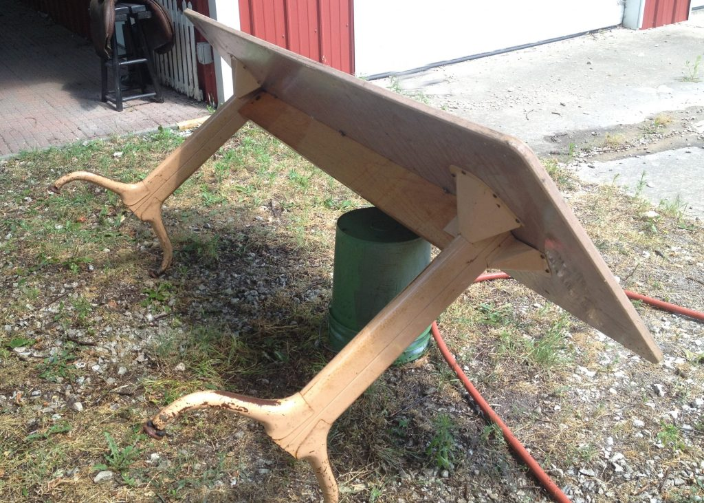 Old Library table with Metal legs pre-refinishing
