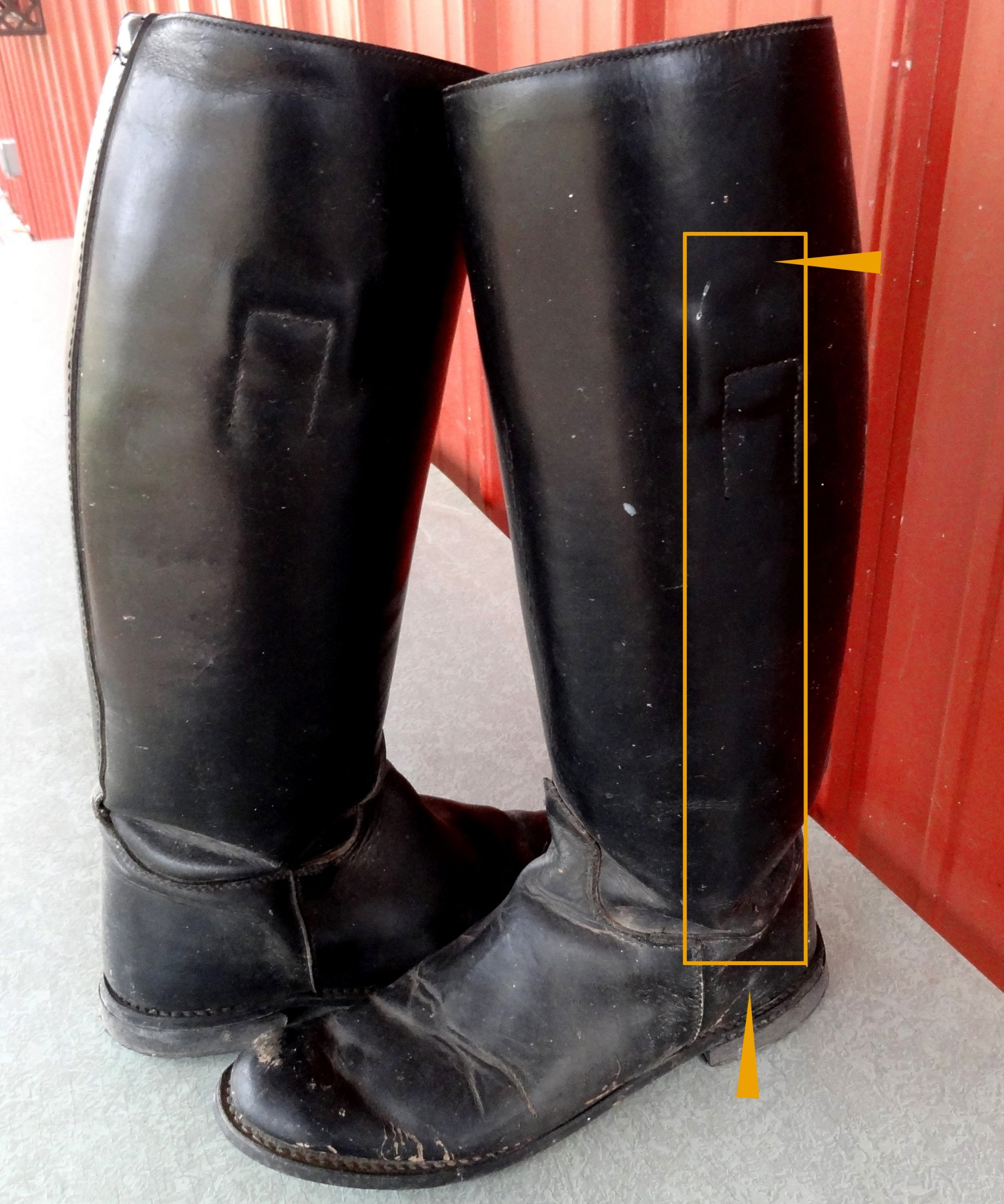 A photo of boots showing where they are braced.