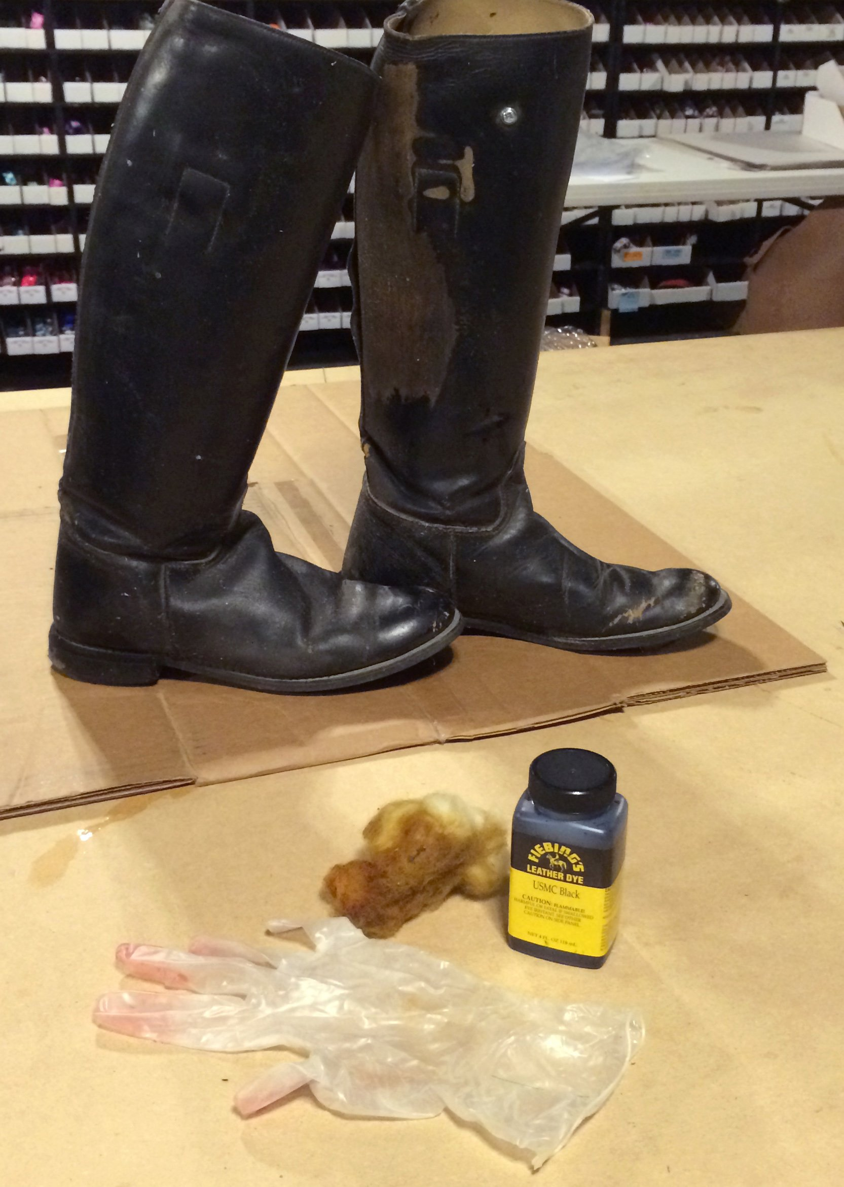 supplies needed to redye leather riding boots