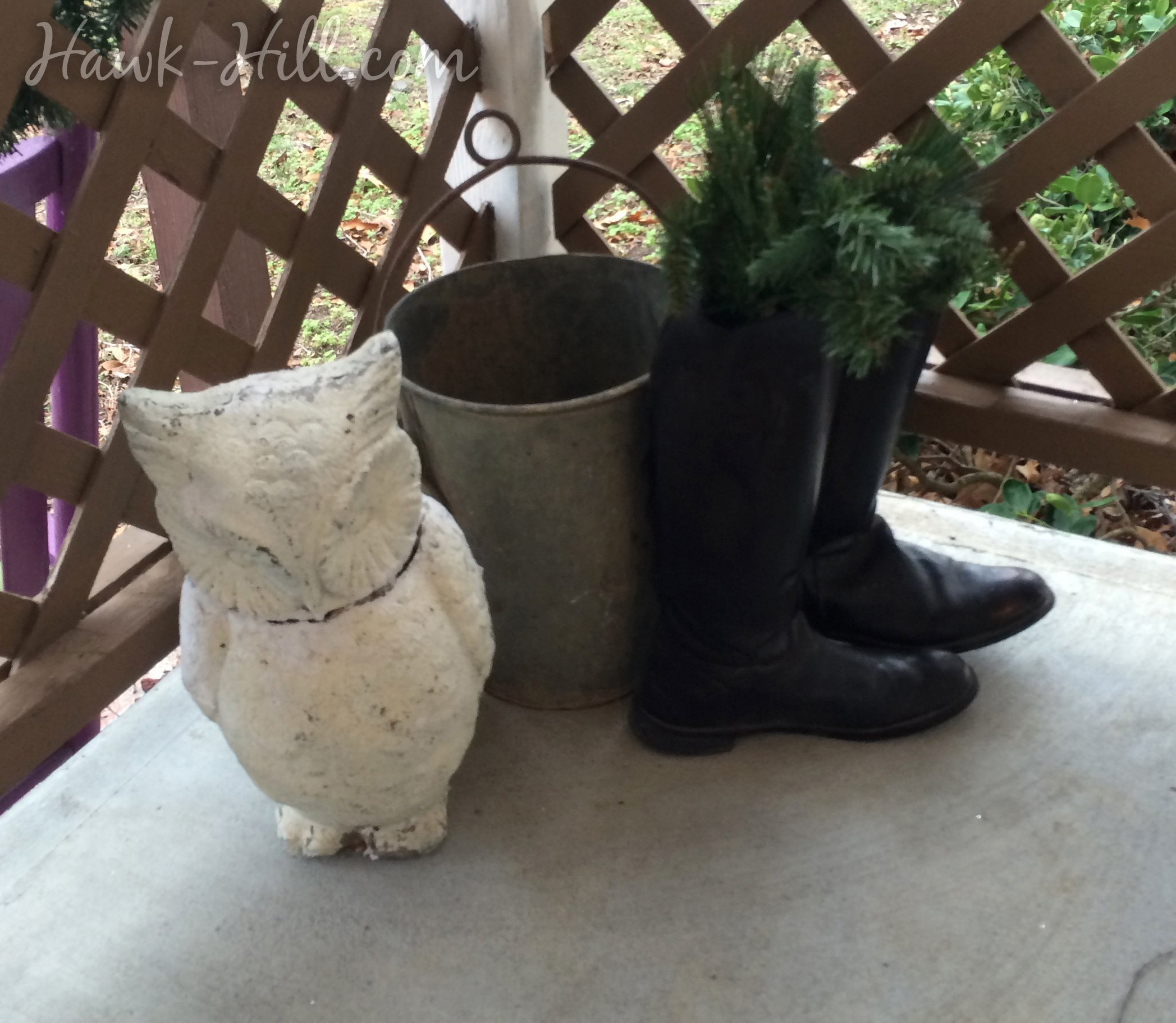 Riding boots used for equestrian holiday decor