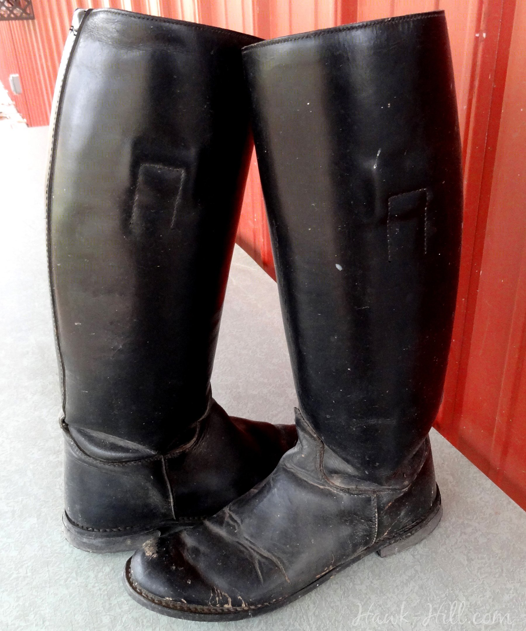 Refreshed and redyed leather boots