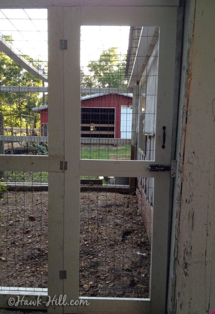 Narrow door to chicken coop run
