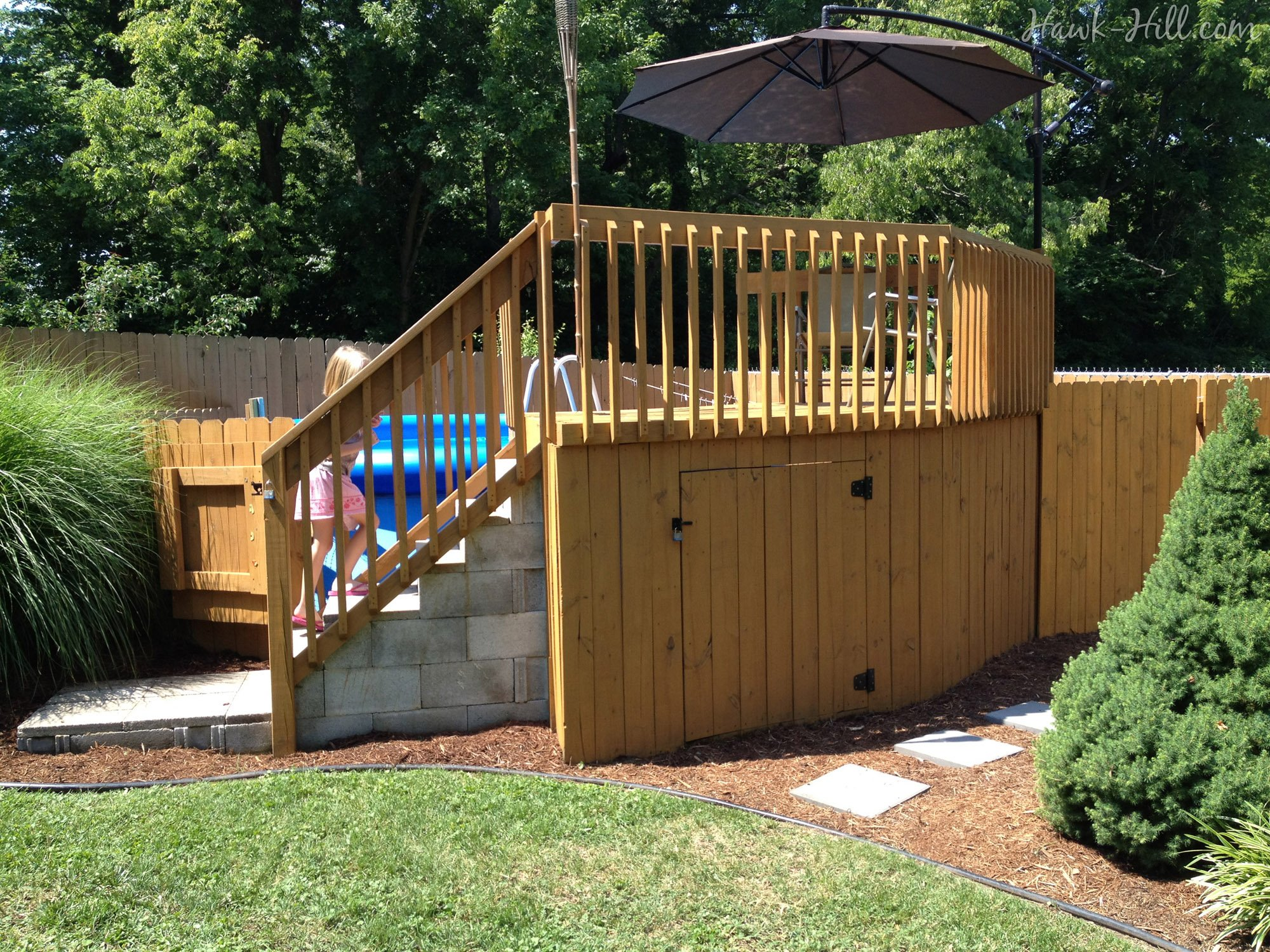 Fine Above Ground Pool Steps Wood Rectangular Fiberglass With