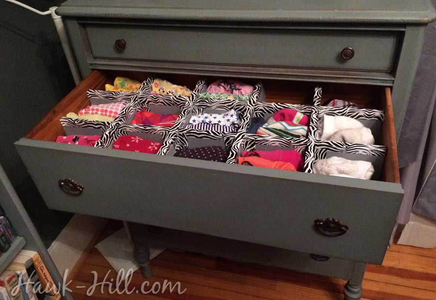 Lingere Drawer with dividers in Vintage Dresser