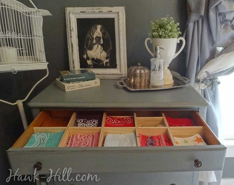 Vintage dresser Grey Bedroom with handkerchief drawer: Hawk-Hill.com