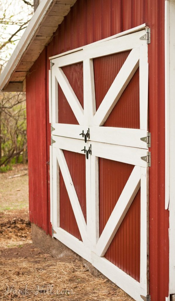 Old Fashioned red and White Dutch Doors on Barn