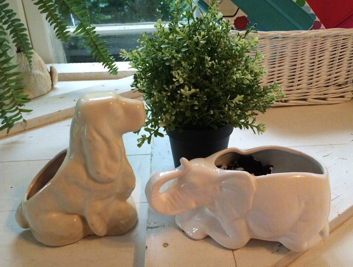 small spaniel and elephant vintage planters