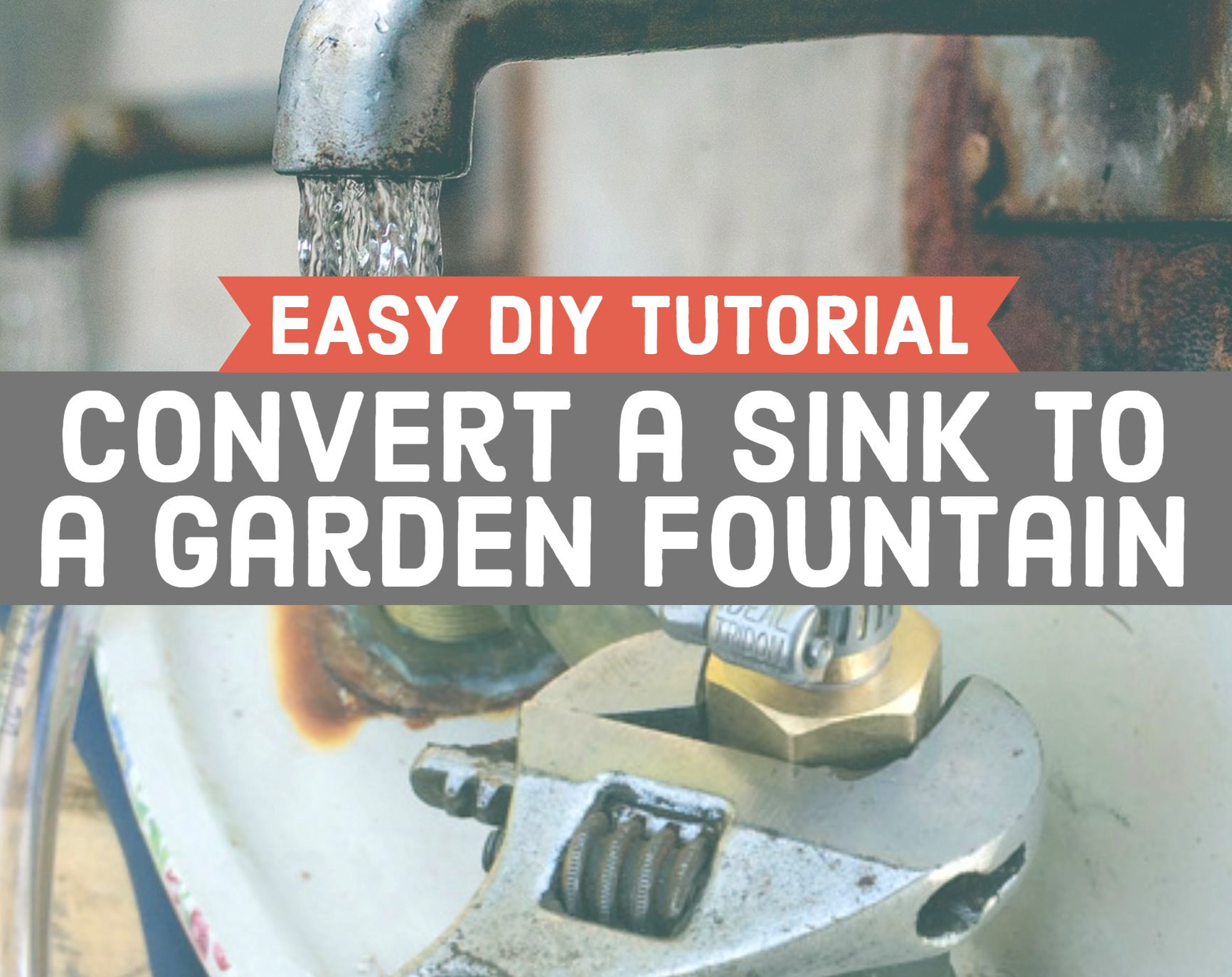 tutorial to convert a sink to a garden fountain