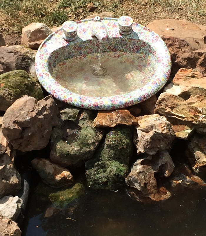 sink turned fountain