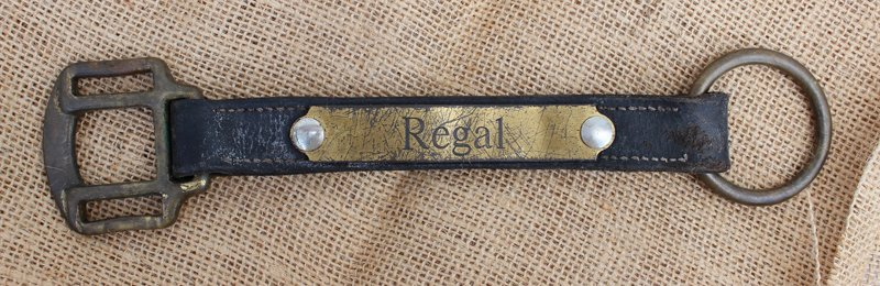 An engraved cheek section of a used horse halter.