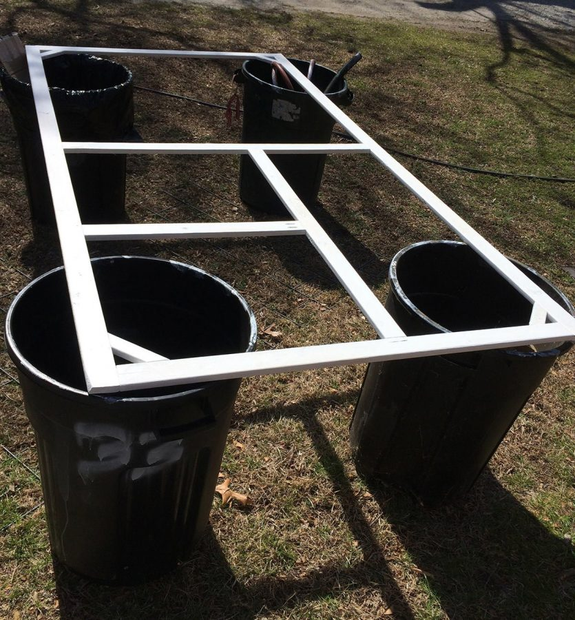 laying out my frames on a makeshift table saved by back as I worked on this chicken tractor