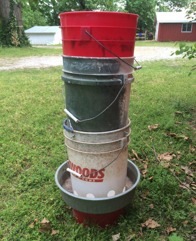 How to build your own 2 week chicken feeder hawk hill for Old chicken feeder ideas