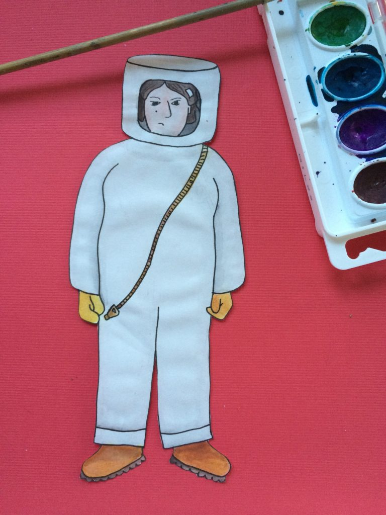 Watercolor self potrait in a haz-mat suit illustration