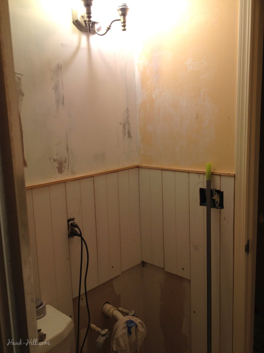 Marvelous $300 Bathroom Renovation   Featuring Paneling Over Existing Tile Part 16