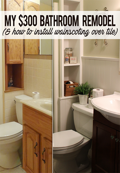 How I remodeled a tile bathroom with $300 and no demolition