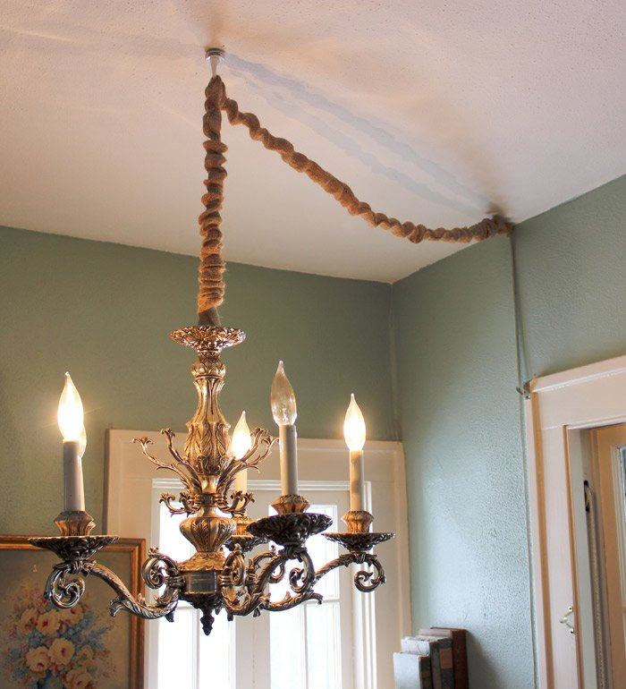 How to hang a chandelier in a room without wiring for an overhead hang a chandelier without hardwiring by converting to a lamp and then covering the cord aloadofball Choice Image