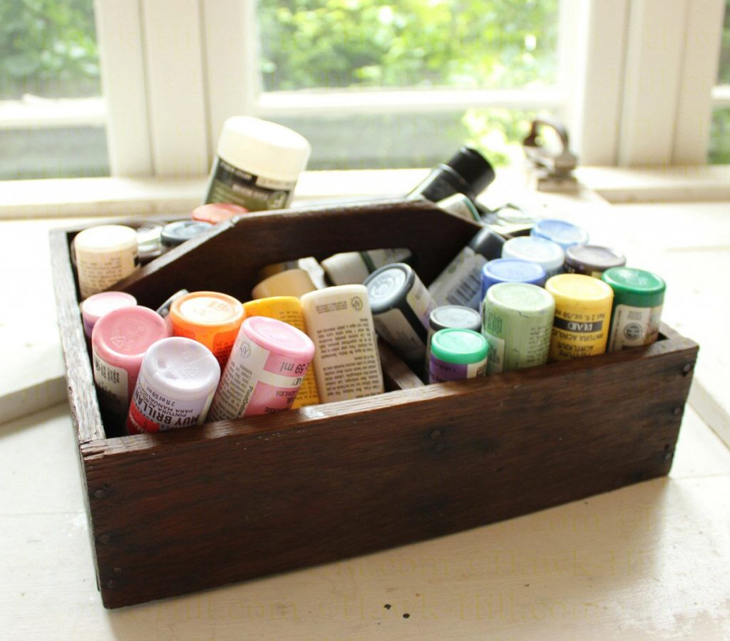 hinge top jars seal securely and are great for paint, markers, and sculpting media
