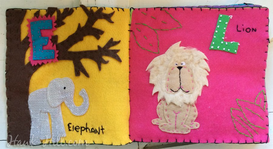 Quiet Book Lion and Elephant Layouts