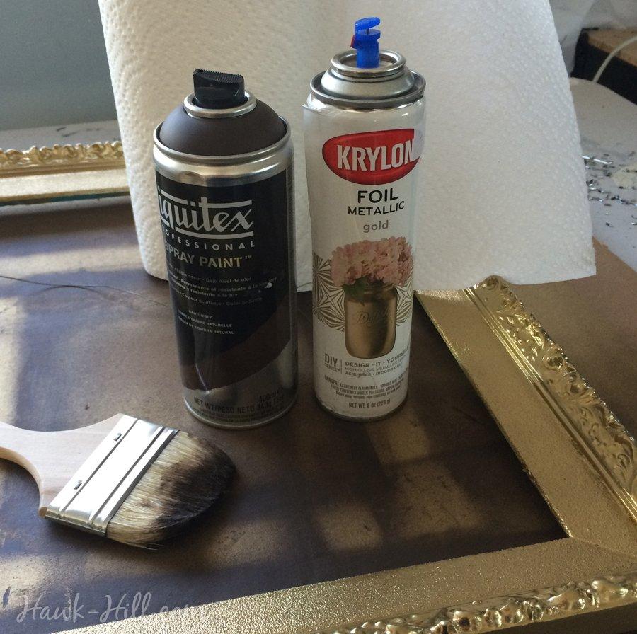DIY antiqued gold frames 61