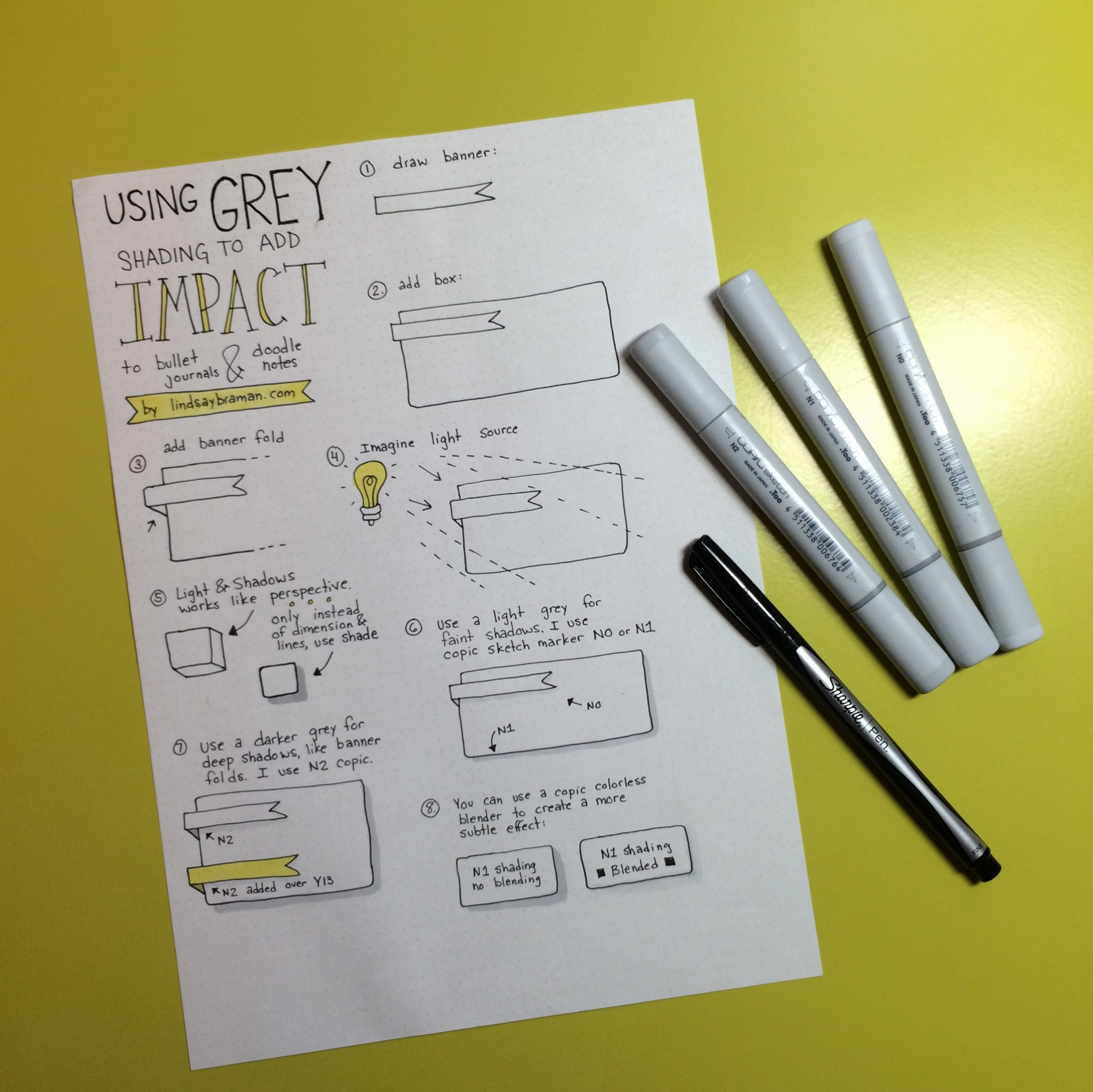 How to use grey shading in notes, doodles, and bullet journals