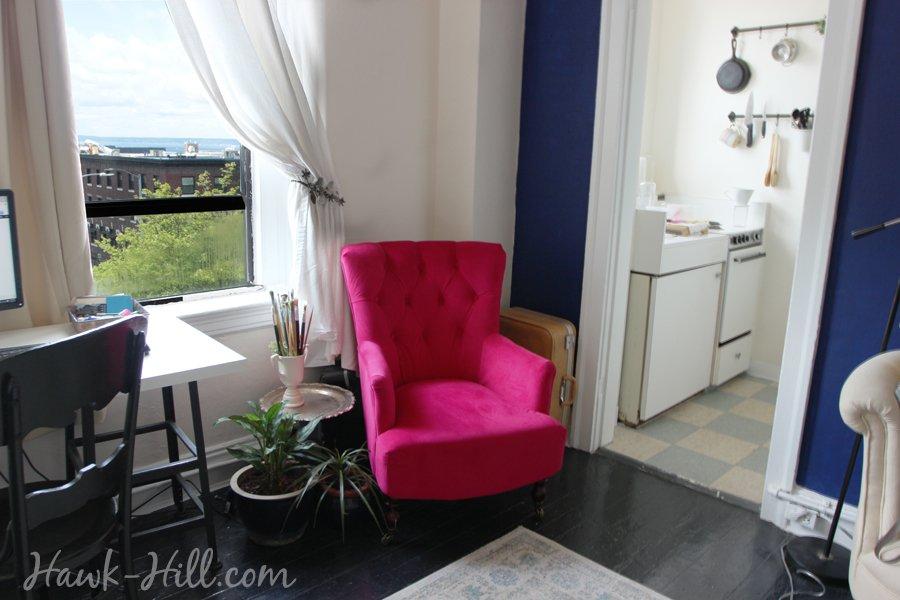 World Market Fuchsia Nina Chairin 280 Square Foot Studio Apartment in Belltown Seattle