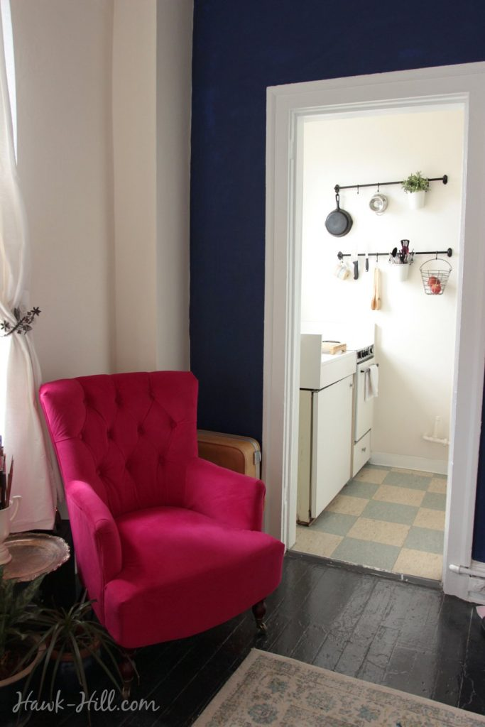 World Market Fuchsia Nina Chairin 280 Square Foot Studio Apartment in Belltown Seattle