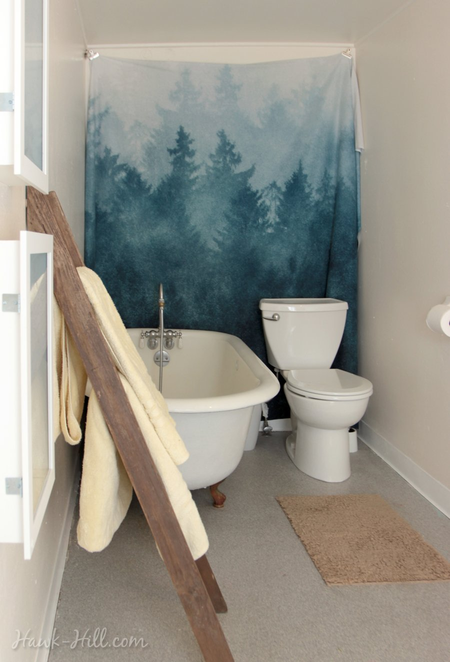 Big Bathroom in Tiny Seattle Apartment with Clawfoot Tub
