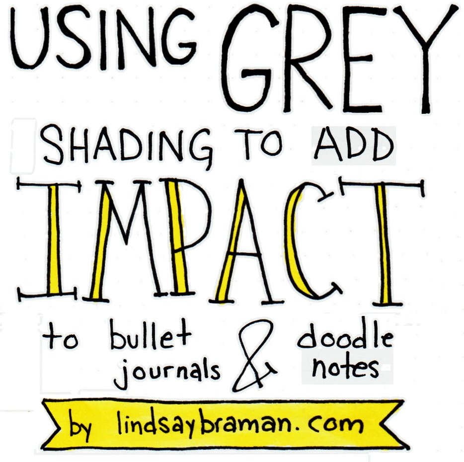 How to use grey shading in notes, doodles, and bullet journals 1