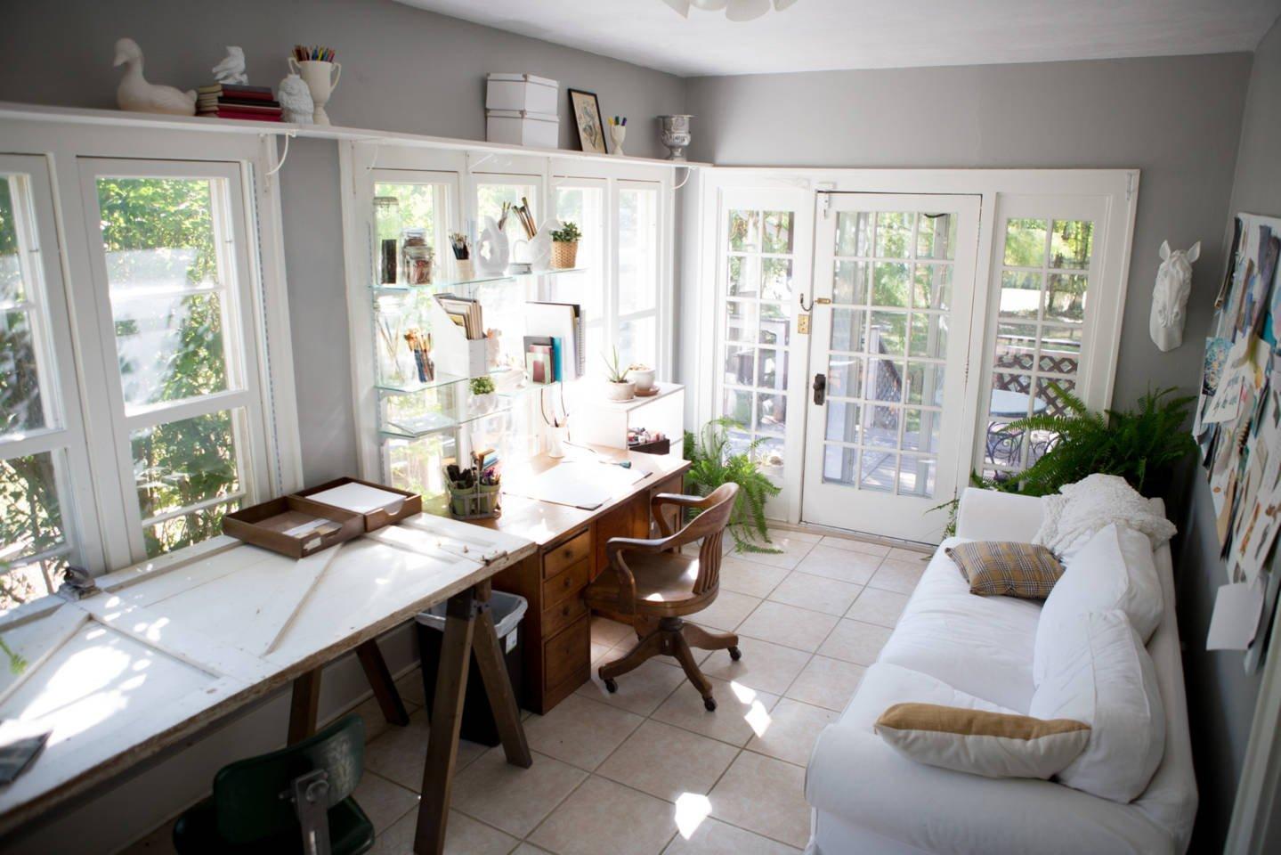bright_sunroom_artists_studio_vintage_furnishings