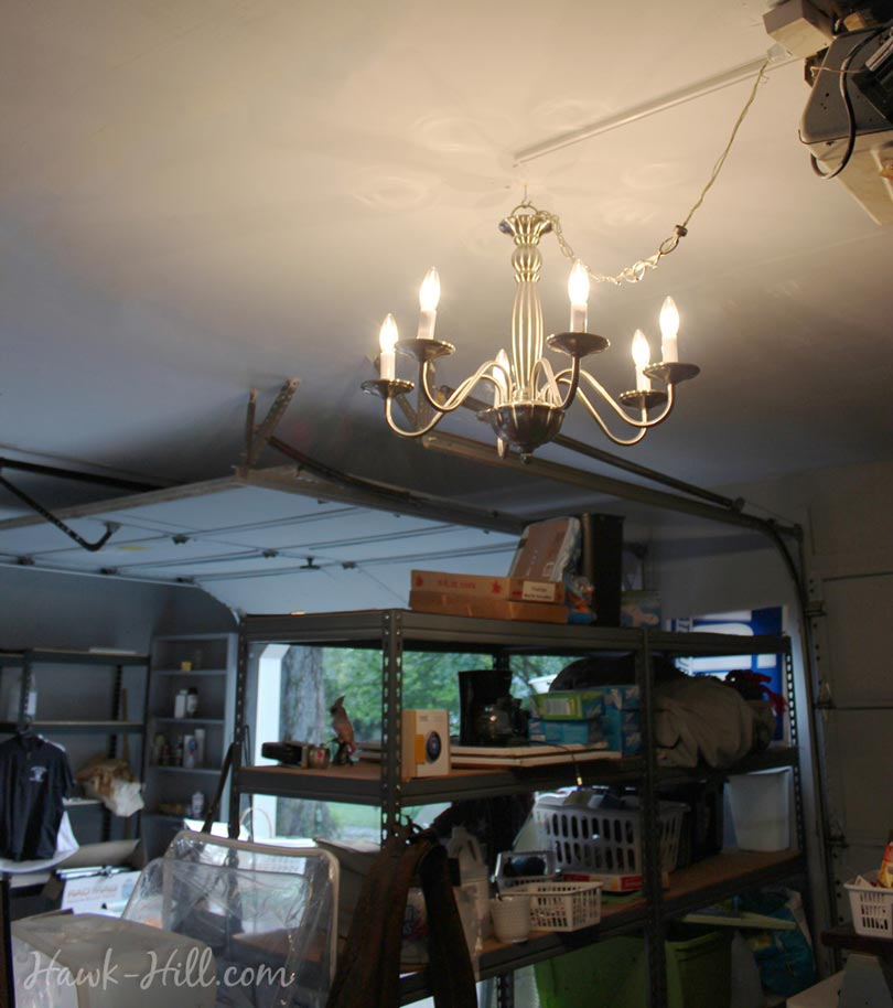 My Garage With Chandelier Lighting