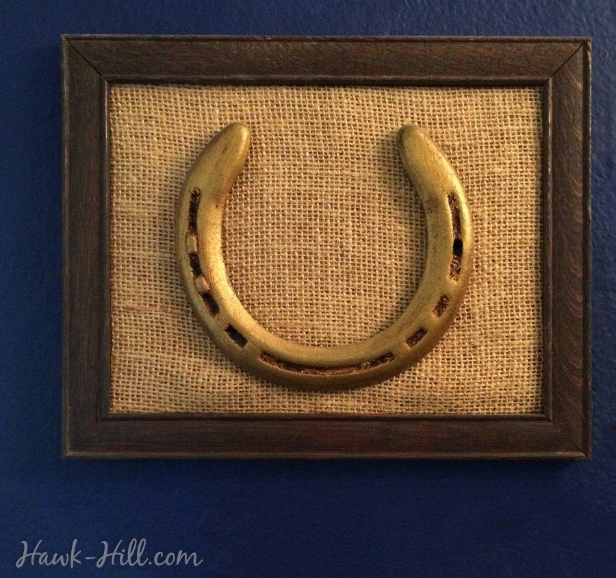 old horse shoe antiqued and framed