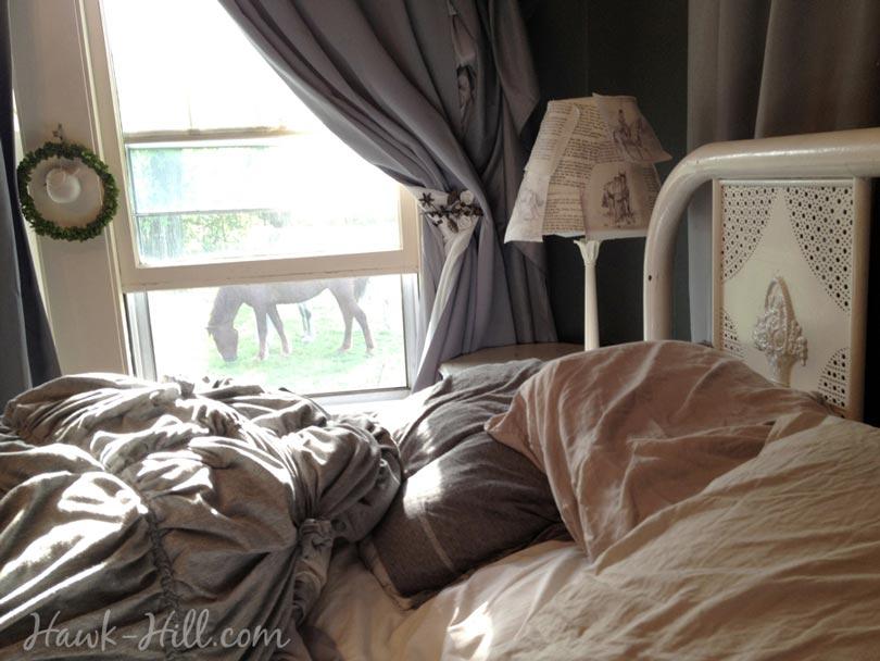 feminine master bedroom vintage horse