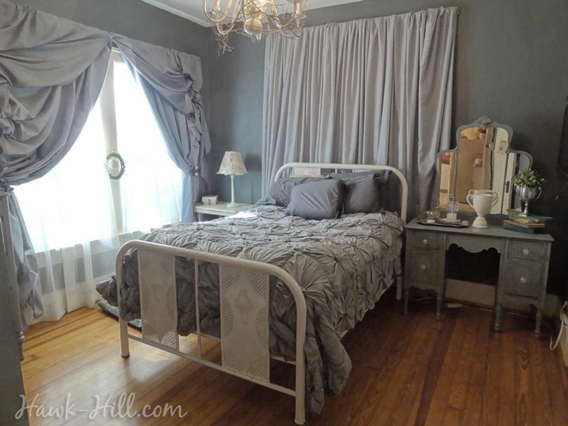 How i created luxurious ruffled curtains for my master bedroom for 30 hawk hill Chandelier in master bedroom