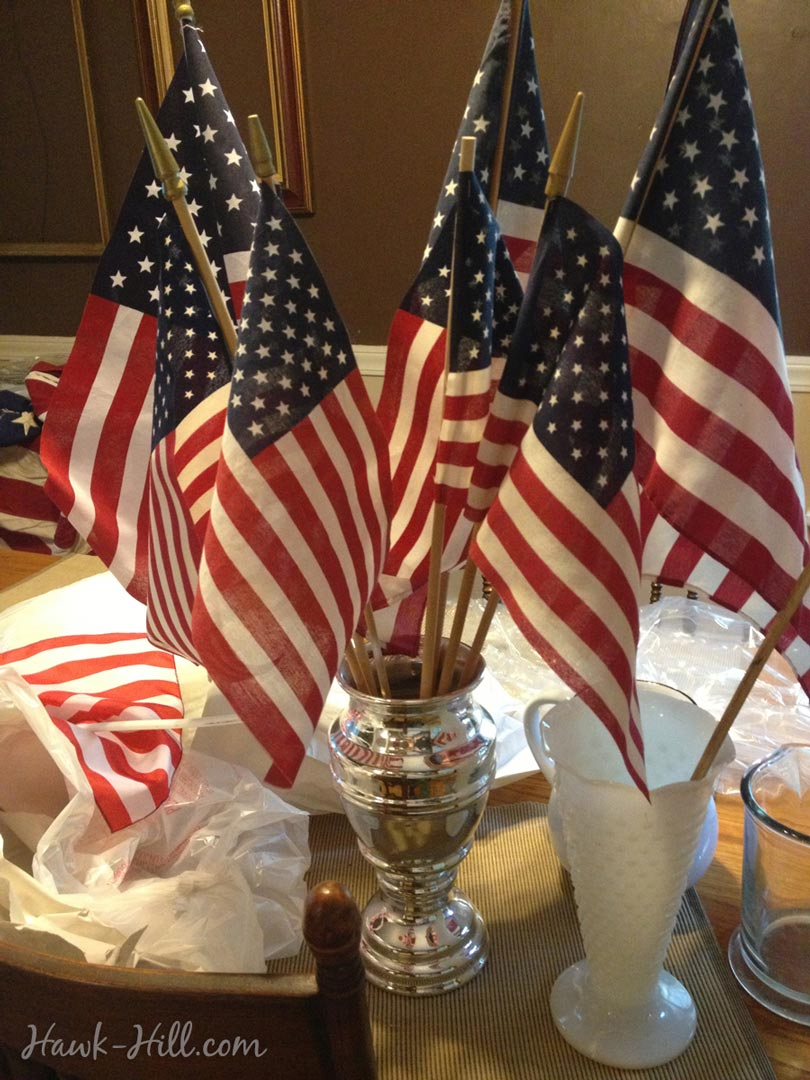 Mini flag table centerpiece