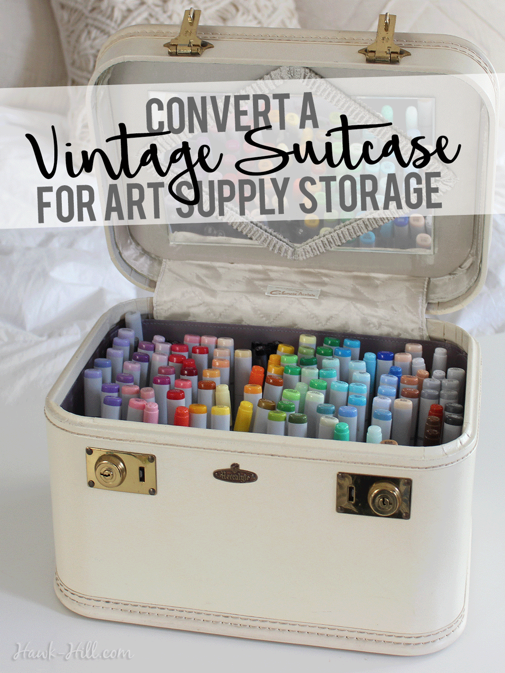 Merveilleux How To Convert A Vintage Cosmetic Suitcase Into An Organized Art Supply  Storage