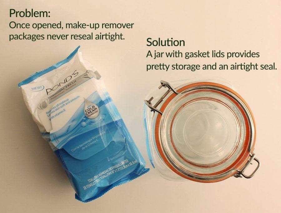 keep wet wipes wet using a hinge top jar