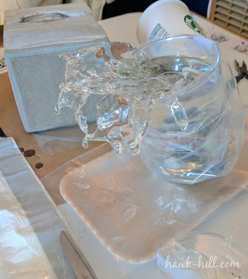 A near-finished piece demonstrating resin drips and splashes