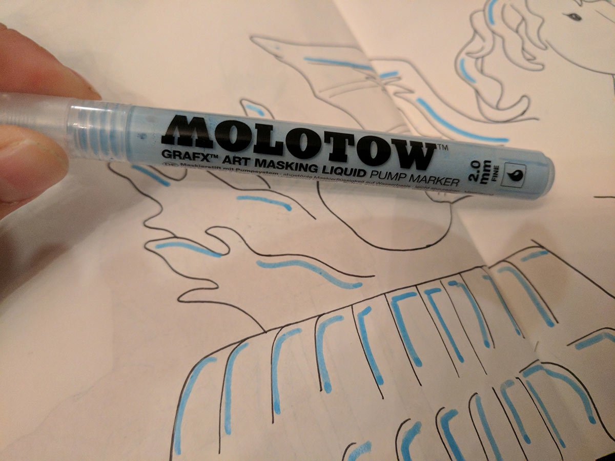 prepping a page for watercolor using a molotow masking pen to protect negative white space