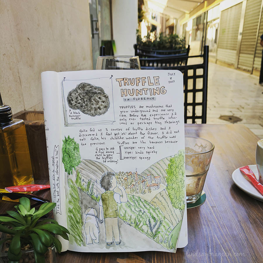 Truffle Hunting Travel Art Journal Page