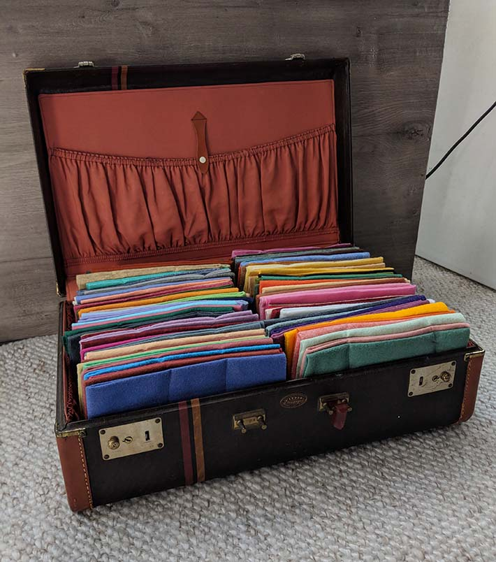 Once totally deodorized, vintage luggage can be a great way to stash papers, craft supplies, or toys