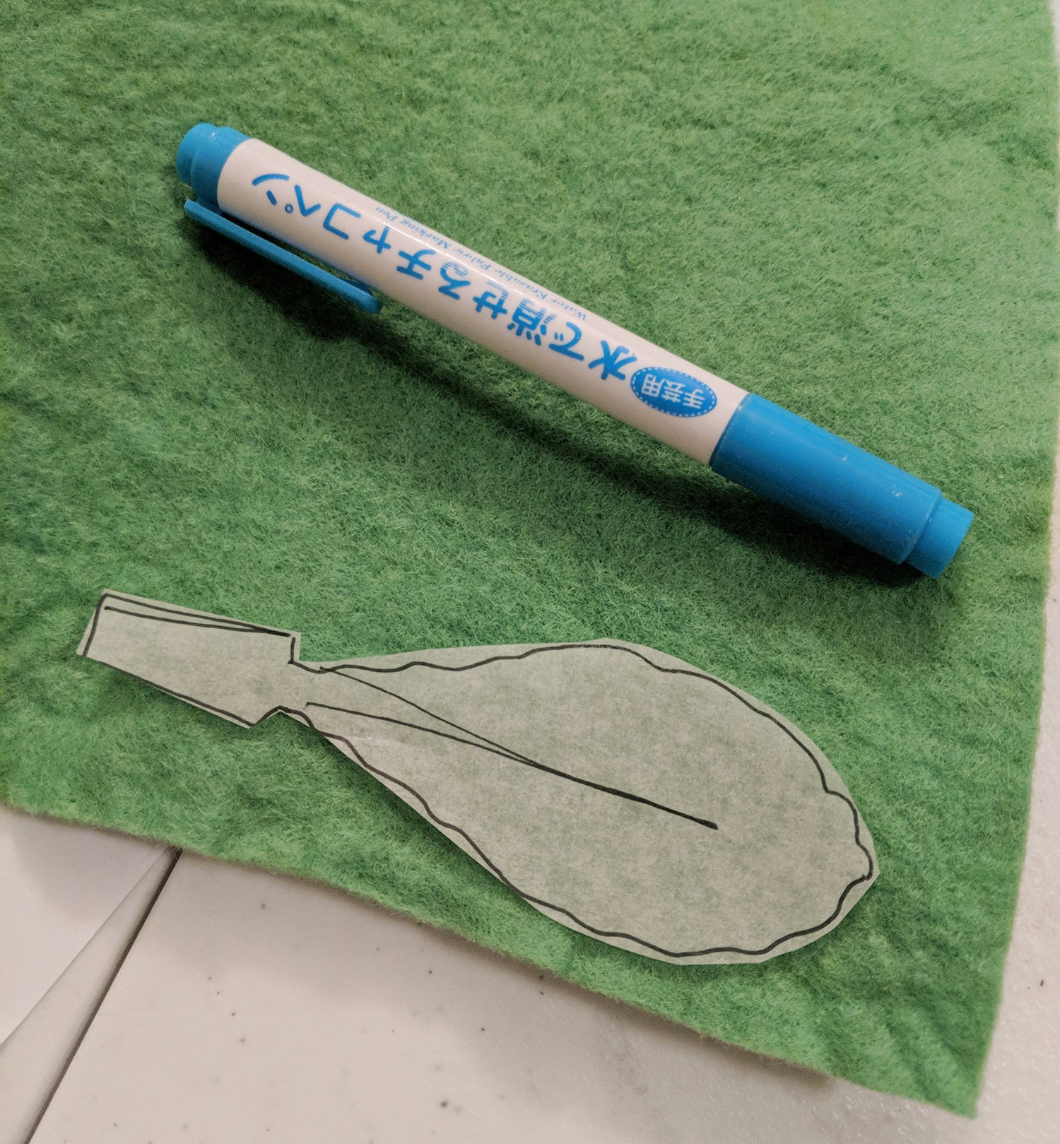 Transfer the pattern onto the stiffened felt using a fabric marker that erases easily