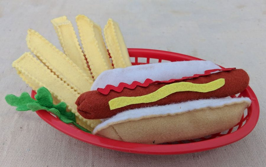 felt french fries and hot dog