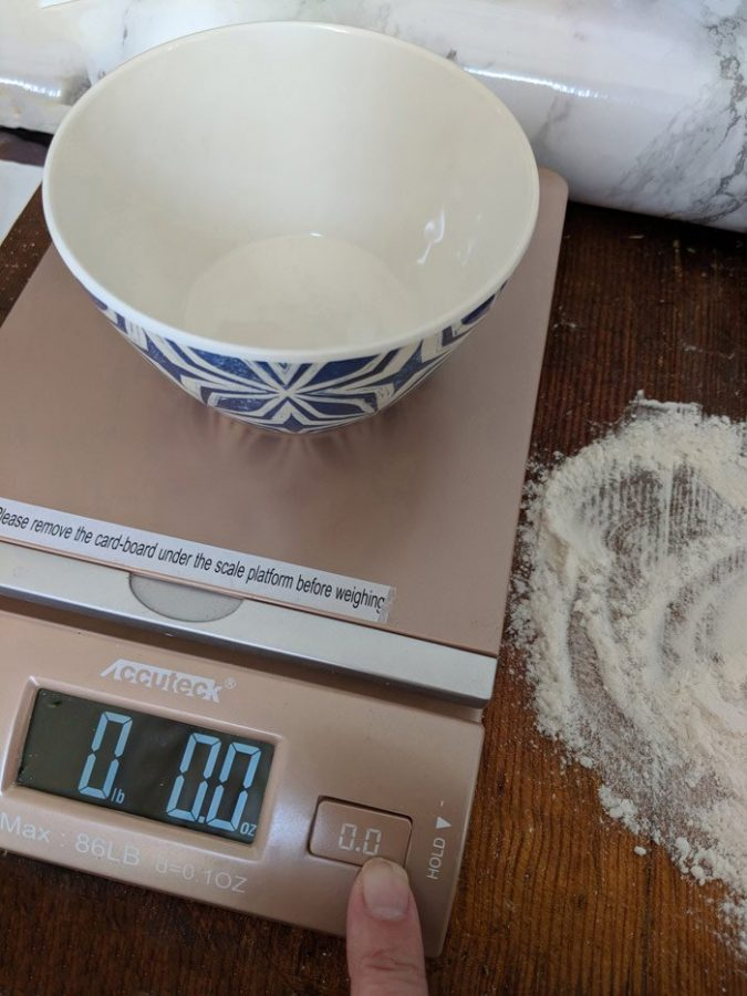 """Before weighing your baking mix, place your mixing bowl on the scale and """"zero out"""" the scale-resetting the weight to 0.e"""