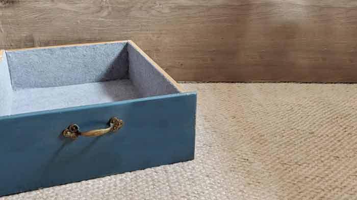 finished felt lined drawer