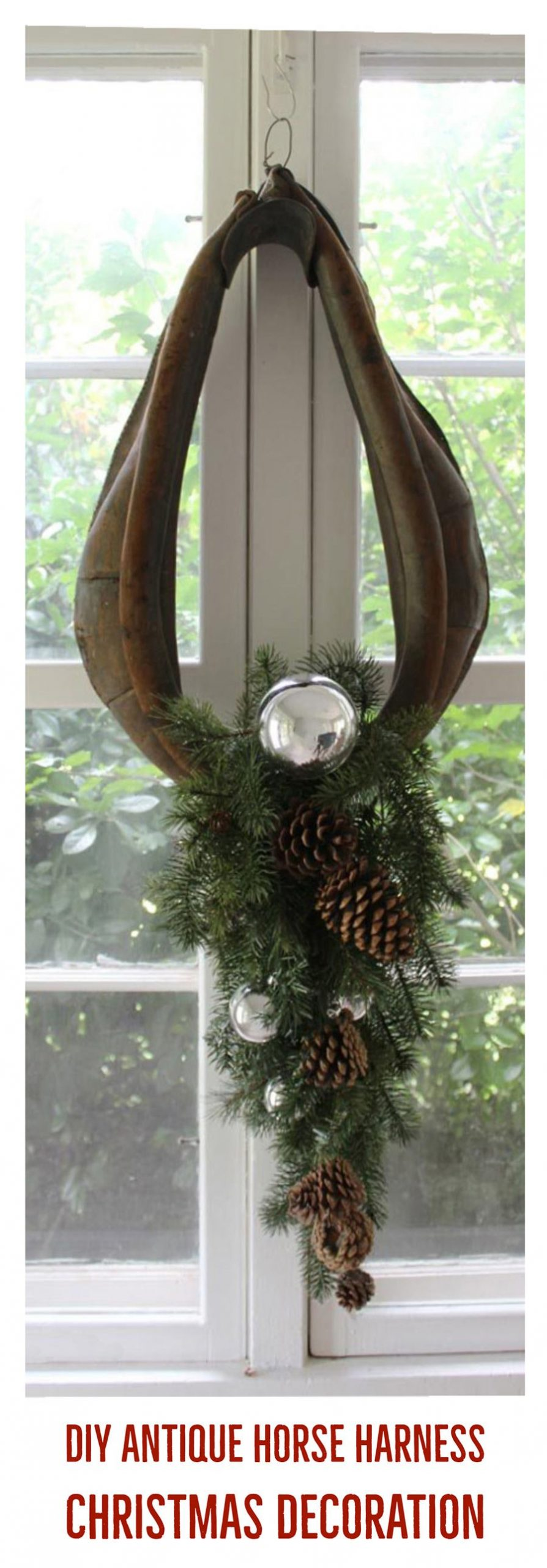 step by step instructions for turning an old horse harness collar into an elegant christmas wreath