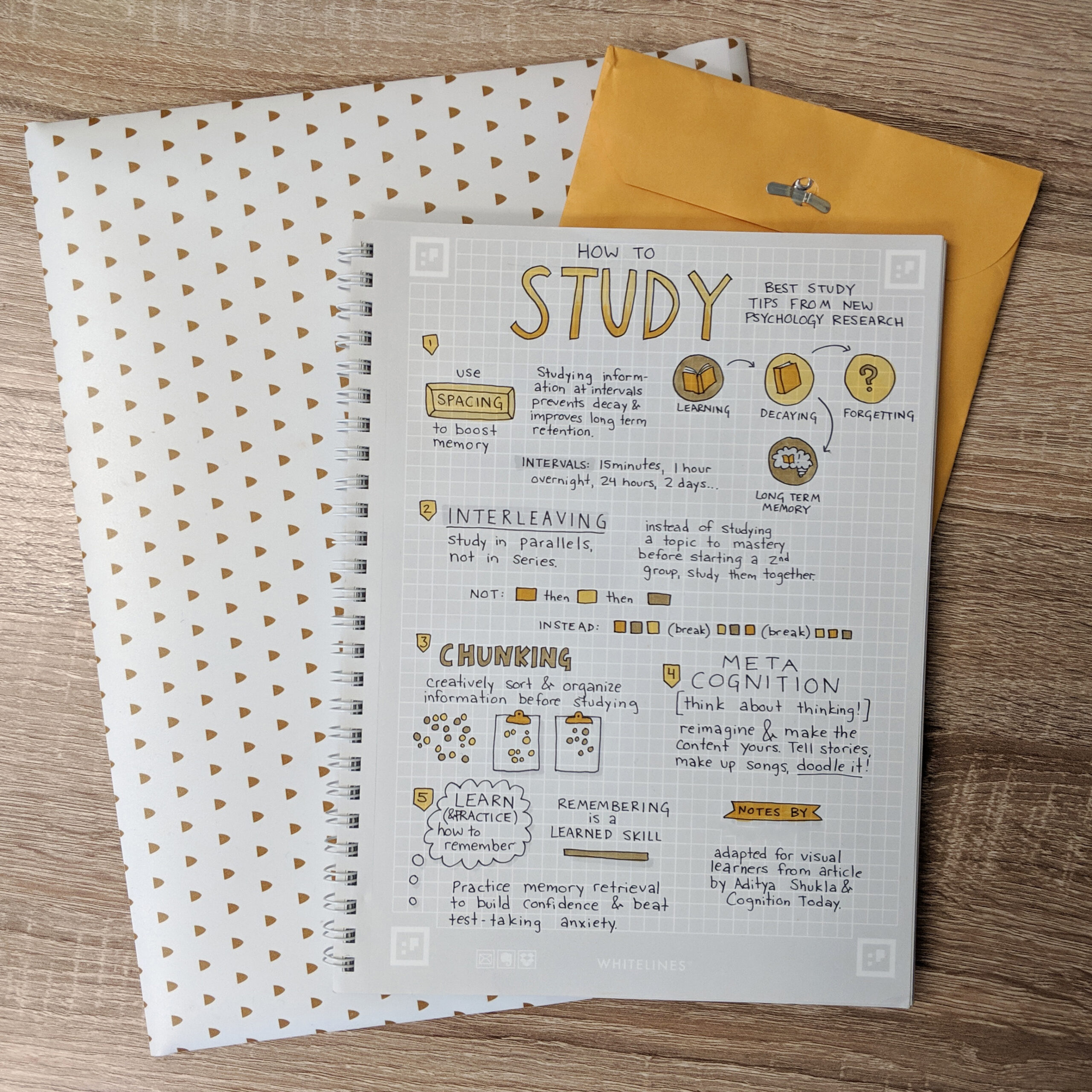 Flat lay photo of a page of notes about study techniques.