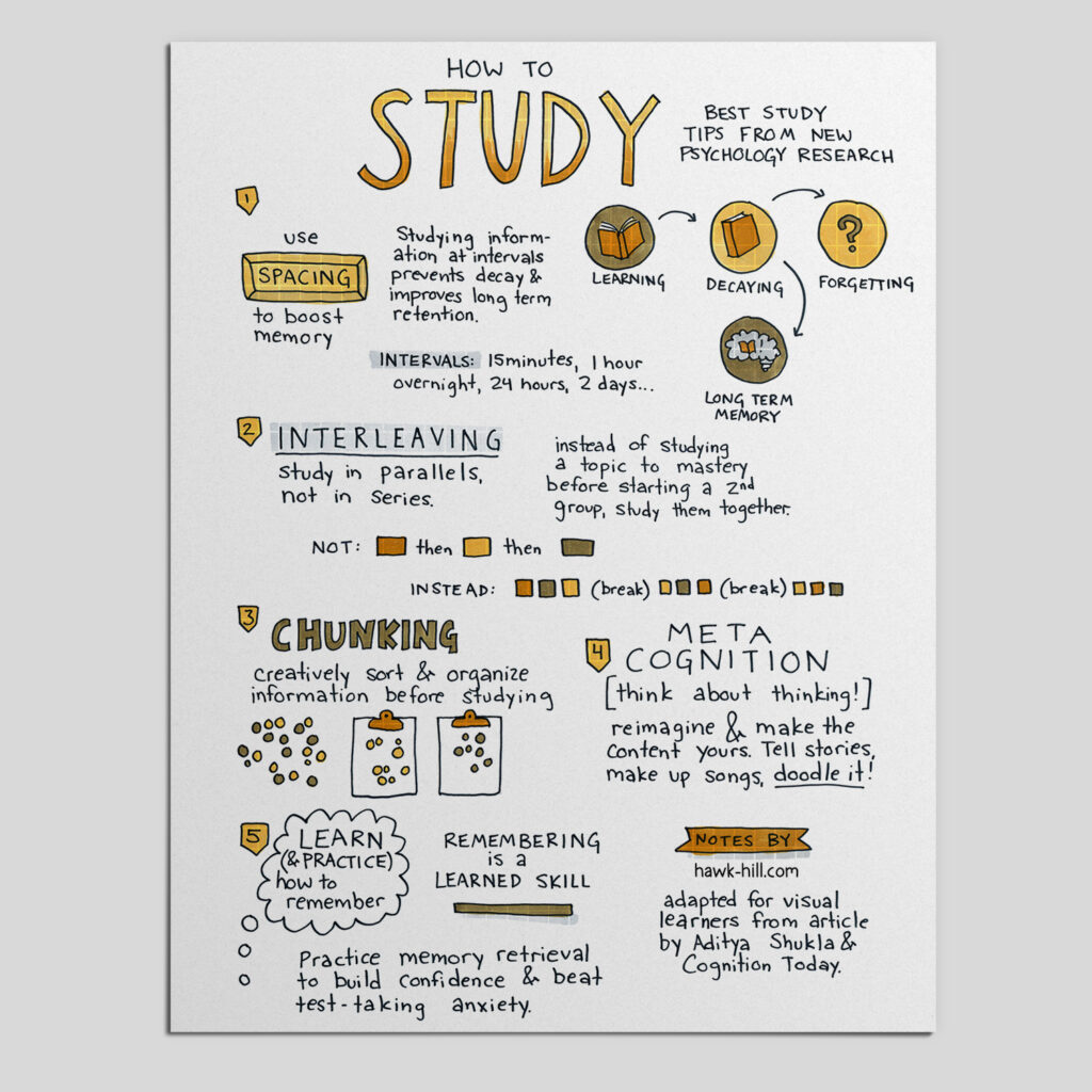 Mockup of a page of notes about study techniques.