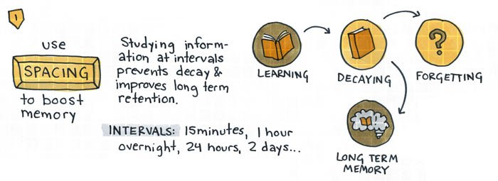 Studying information at intervals prevents decay and improves long-term retention.