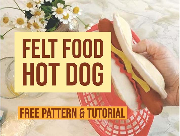 How to make a toy hot dog using felt